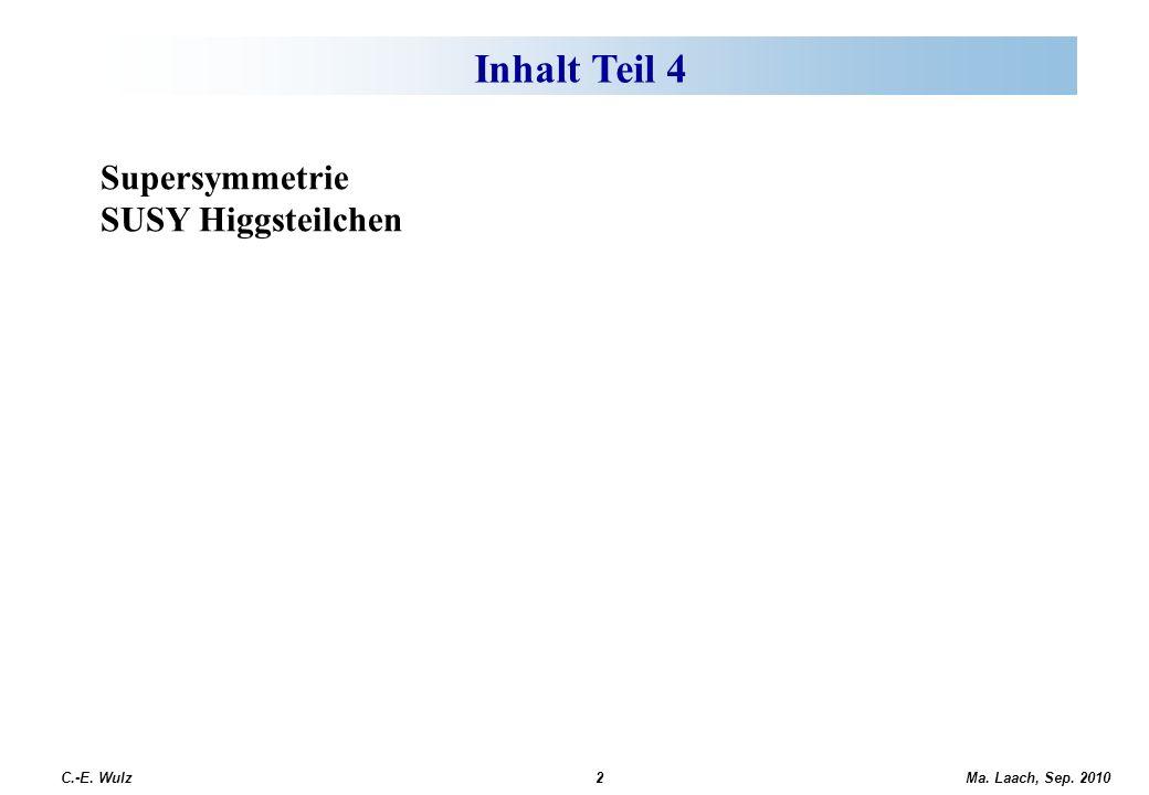 Ma. Laach, Sep. 2010 C.-E. Wulz2 Offene fundamentale Fragen Supersymmetrie SUSY Higgsteilchen Inhalt Teil 4