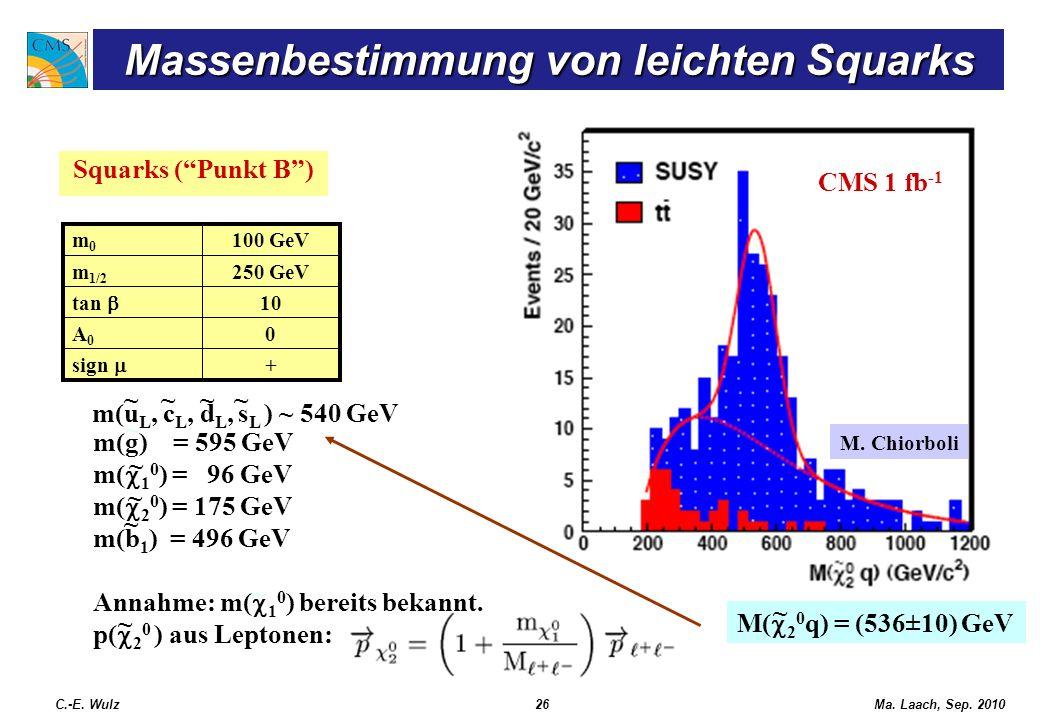 Ma. Laach, Sep. 2010 Squarks (Punkt B) CMS 1 fb -1 + sign 0A0A0 10 tan 250 GeVm 1/2 100 GeVm0m0 ~~~~ CMS 1 fb -1 m(u L, c L, d L, s L ) ~ 540 GeV ~ ~
