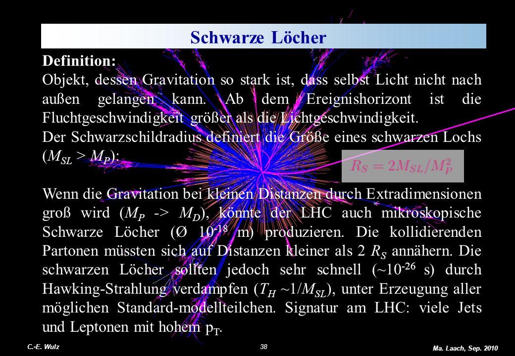 Schwarze Löcher Definition: Objekt, dessen Gravitation so stark ist, dass selbst Licht nicht nach außen gelangen kann. Ab dem Ereignishorizont ist die