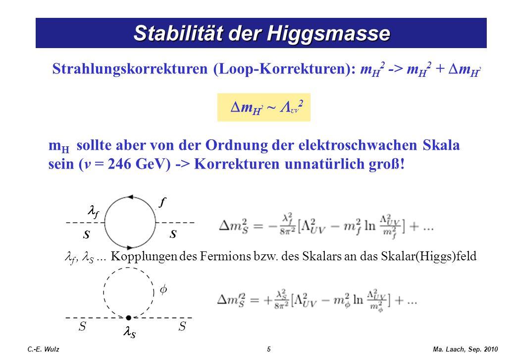 Ma. Laach, Sep. 2010 Strahlungskorrekturen (Loop-Korrekturen): m H 2 -> m H 2 + m H 2 m H 2 ~ UV 2 m H sollte aber von der Ordnung der elektroschwache