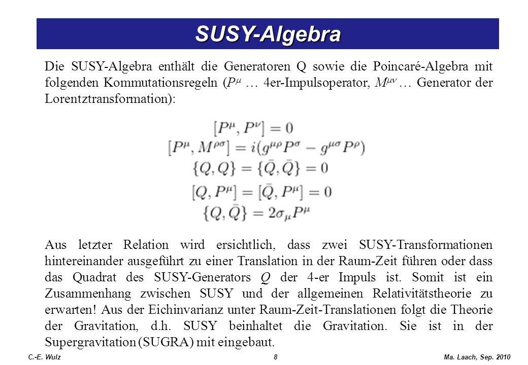 Ma. Laach, Sep. 2010 SUSY-Algebra Die SUSY-Algebra enthält die Generatoren Q sowie die Poincaré-Algebra mit folgenden Kommutationsregeln (P … 4er-Impu