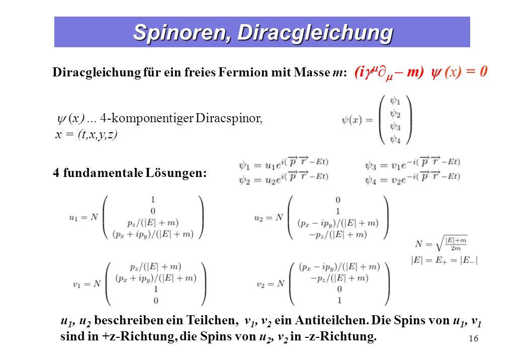 Spinoren, Diracgleichung 16 Diracgleichung für ein freies Fermion mit Masse m: (i – m) (x) = 0 4 fundamentale Lösungen: x... 4-komponentiger Diracspin