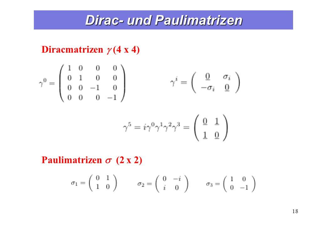 Dirac- und Paulimatrizen 18 Diracmatrizen (4 x 4) Paulimatrizen (2 x 2)