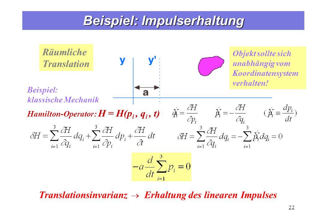 Translationsinvarianz Erhaltung des linearen Impulses Räumliche Translation Objekt sollte sich unabhängig vom Koordinatensystem verhalten! Hamilton-Op