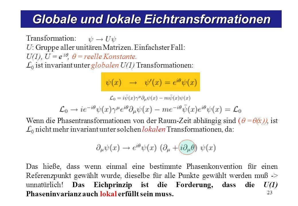 Globale und lokale Eichtransformationen 23 Transformation: U: Gruppe aller unitären Matrizen. Einfachster Fall: U(1), U = e i, = reelle Konstante. L 0
