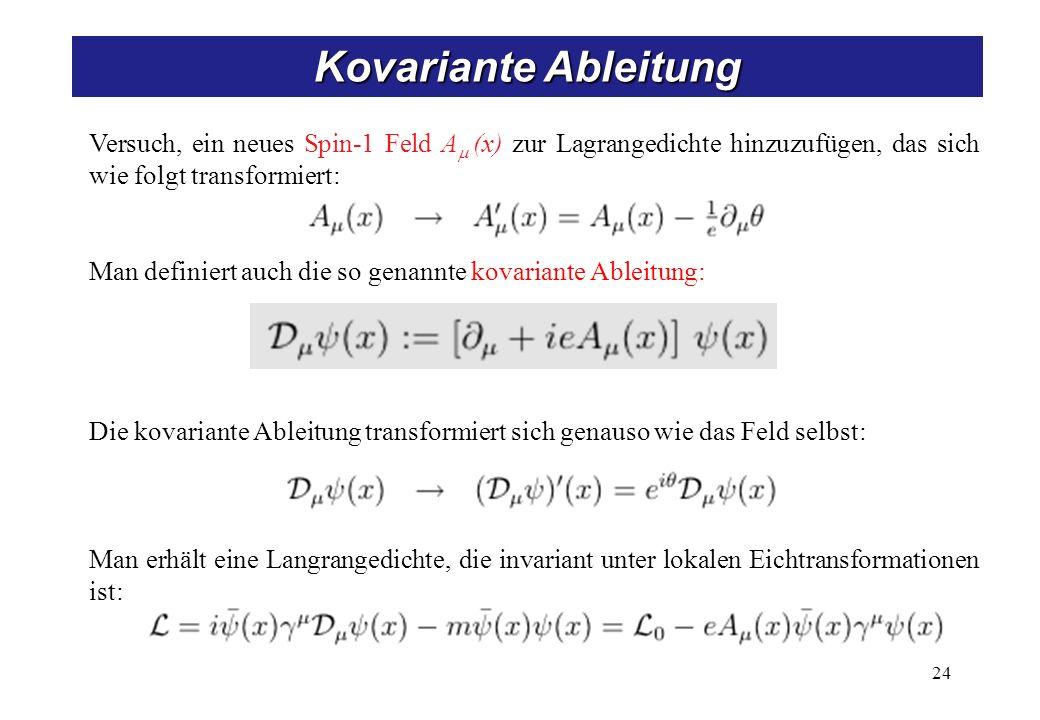 Kovariante Ableitung 24 Versuch, ein neues Spin-1 Feld A (x) zur Lagrangedichte hinzuzufügen, das sich wie folgt transformiert: Man definiert auch die so genannte kovariante Ableitung: Die kovariante Ableitung transformiert sich genauso wie das Feld selbst: Man erhält eine Langrangedichte, die invariant unter lokalen Eichtransformationen ist: