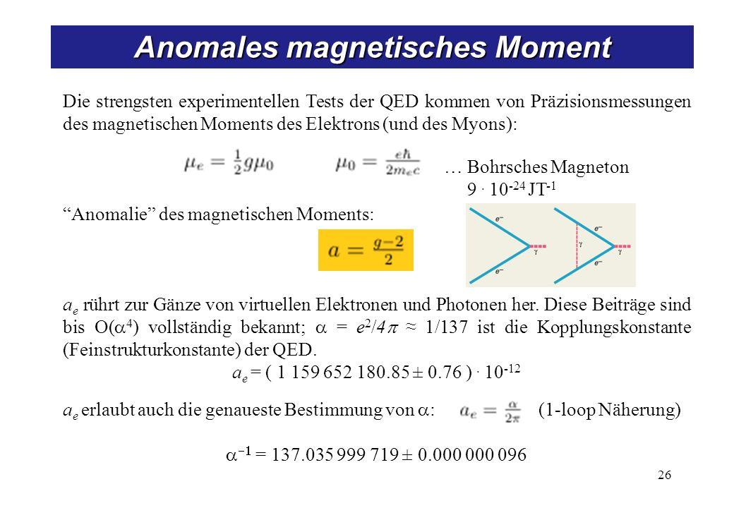 Anomales magnetisches Moment 26 Die strengsten experimentellen Tests der QED kommen von Präzisionsmessungen des magnetischen Moments des Elektrons (und des Myons): Anomalie des magnetischen Moments: a e rührt zur Gänze von virtuellen Elektronen und Photonen her.