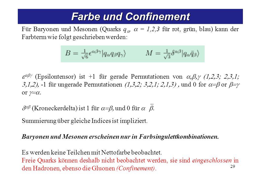 Für Baryonen und Mesonen (Quarks q, = 1,2,3 für rot, grün, blau) kann der Farbterm wie folgt geschrieben werden: (Epsilontensor) ist +1 für gerade Permutationen von -1 für ungerade Permutationen und 0 for or or (Kroneckerdelta) ist 1 für und 0 für Summierung über gleiche Indices ist impliziert.
