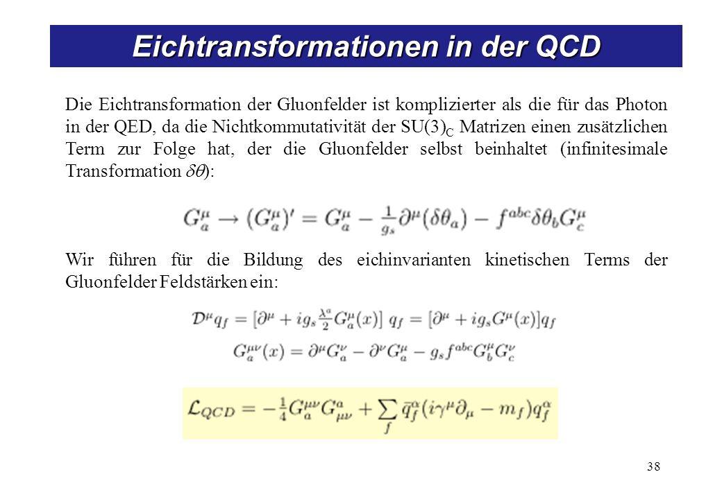 38 Eichtransformationen in der QCD Die Eichtransformation der Gluonfelder ist komplizierter als die für das Photon in der QED, da die Nichtkommutativität der SU(3) C Matrizen einen zusätzlichen Term zur Folge hat, der die Gluonfelder selbst beinhaltet (infinitesimale Transformation ): Wir führen für die Bildung des eichinvarianten kinetischen Terms der Gluonfelder Feldstärken ein: