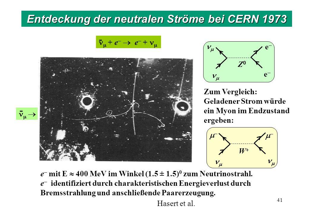 -- e mit E 400 MeV im Winkel (1.5 ± 1.5) 0 zum Neutrinostrahl. e identifiziert durch charakteristischen Energieverlust durch Bremsstrahlung und anschl