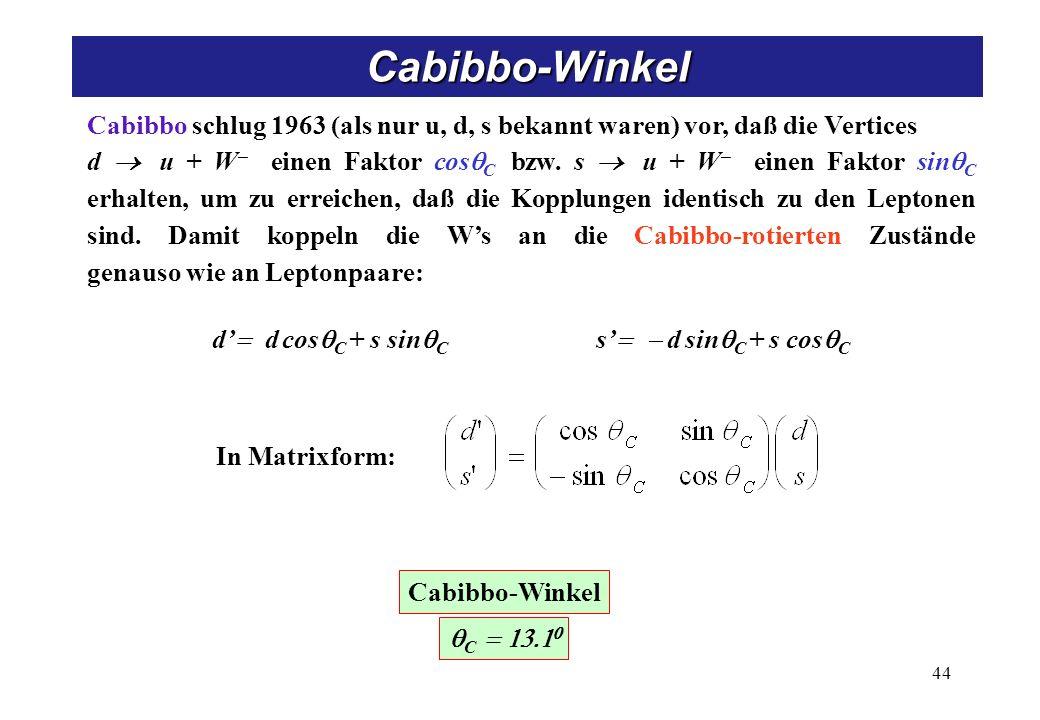 Cabibbo schlug 1963 (als nur u, d, s bekannt waren) vor, daß die Vertices d u + W einen Faktor cos C bzw.