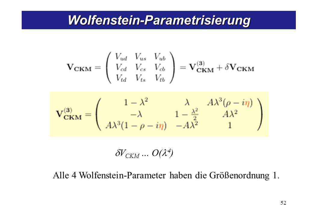 V CKM … O( ) Wolfenstein-Parametrisierung Alle 4 Wolfenstein-Parameter haben die Größenordnung 1.