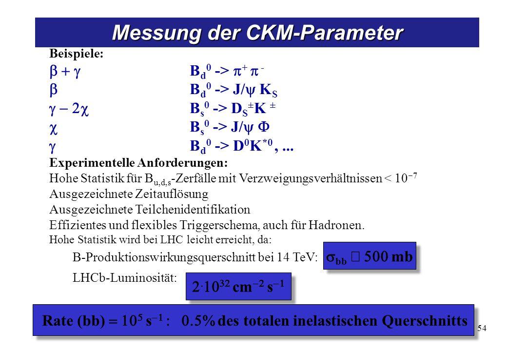 Beispiele: B d 0 -> + - B d 0 -> J/ K S B s 0 -> D S ± K ± B s 0 -> J/ B d 0 -> D 0 K *0,... Experimentelle Anforderungen: Hohe Statistik für B u,d,s