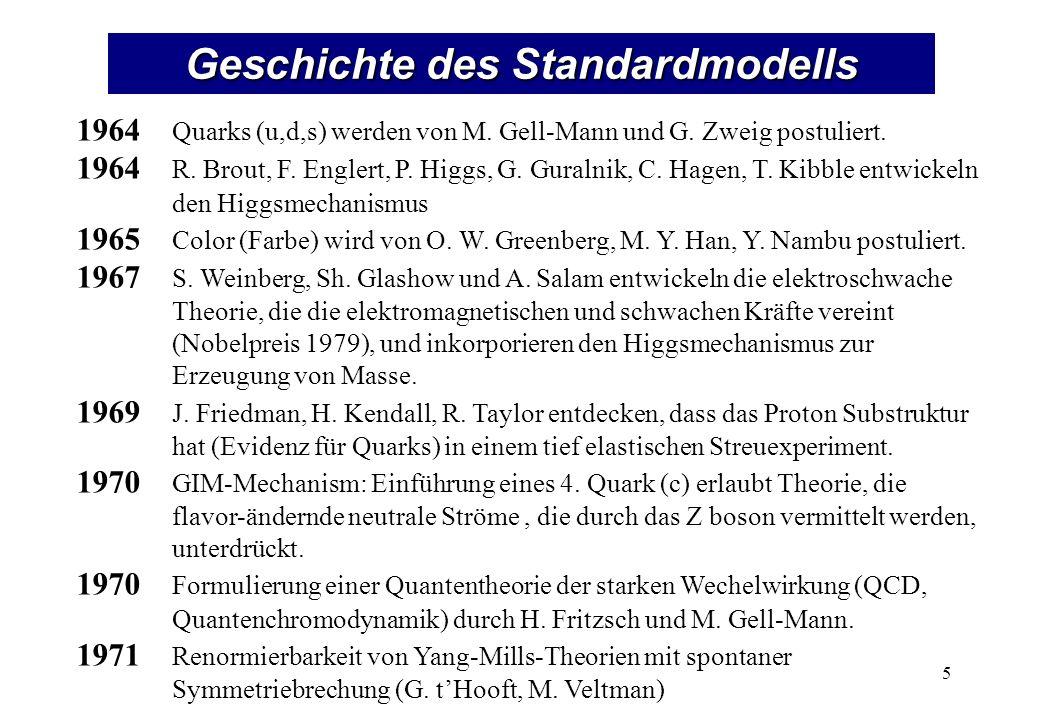 Geschichte des Standardmodells 1964 Quarks (u,d,s) werden von M. Gell-Mann und G. Zweig postuliert. 1964 R. Brout, F. Englert, P. Higgs, G. Guralnik,
