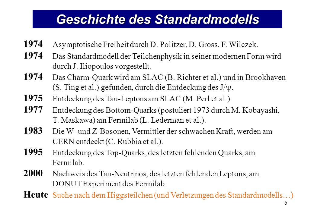Geschichte des Standardmodells 1974 Asymptotische Freiheit durch D. Politzer, D. Gross, F. Wilczek. 1974 Das Standardmodell der Teilchenphysik in sein