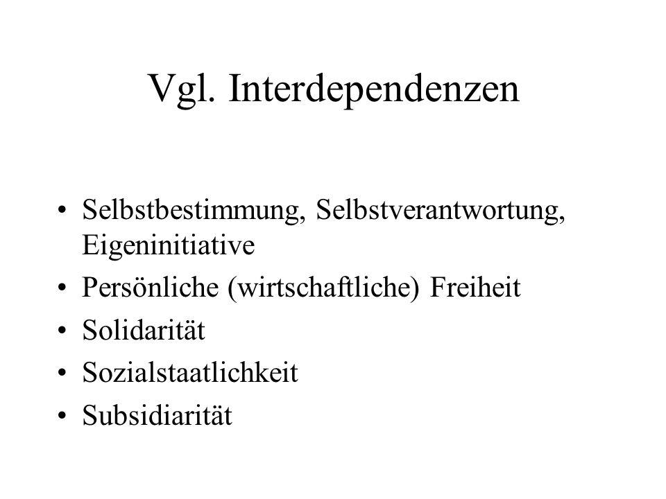Vgl. Interdependenzen Selbstbestimmung, Selbstverantwortung, Eigeninitiative Persönliche (wirtschaftliche) Freiheit Solidarität Sozialstaatlichkeit Su