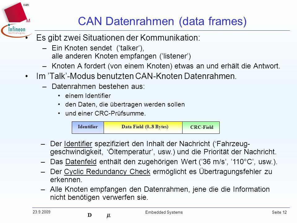 D 23.9.2009 Embedded Systems Seite 12 Identifier CRC-Field Data Field (0..8 Bytes) Es gibt zwei Situationen der Kommunikation: –Ein Knoten sendet (tal
