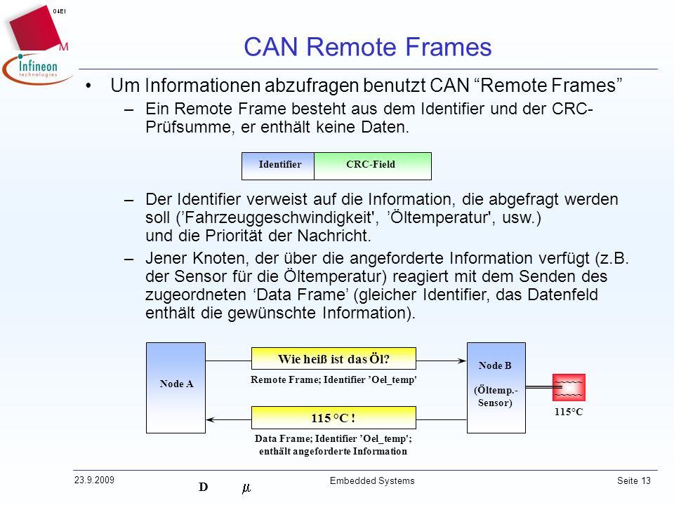 D 23.9.2009 Embedded Systems Seite 13 Um Informationen abzufragen benutzt CAN Remote Frames –Ein Remote Frame besteht aus dem Identifier und der CRC-
