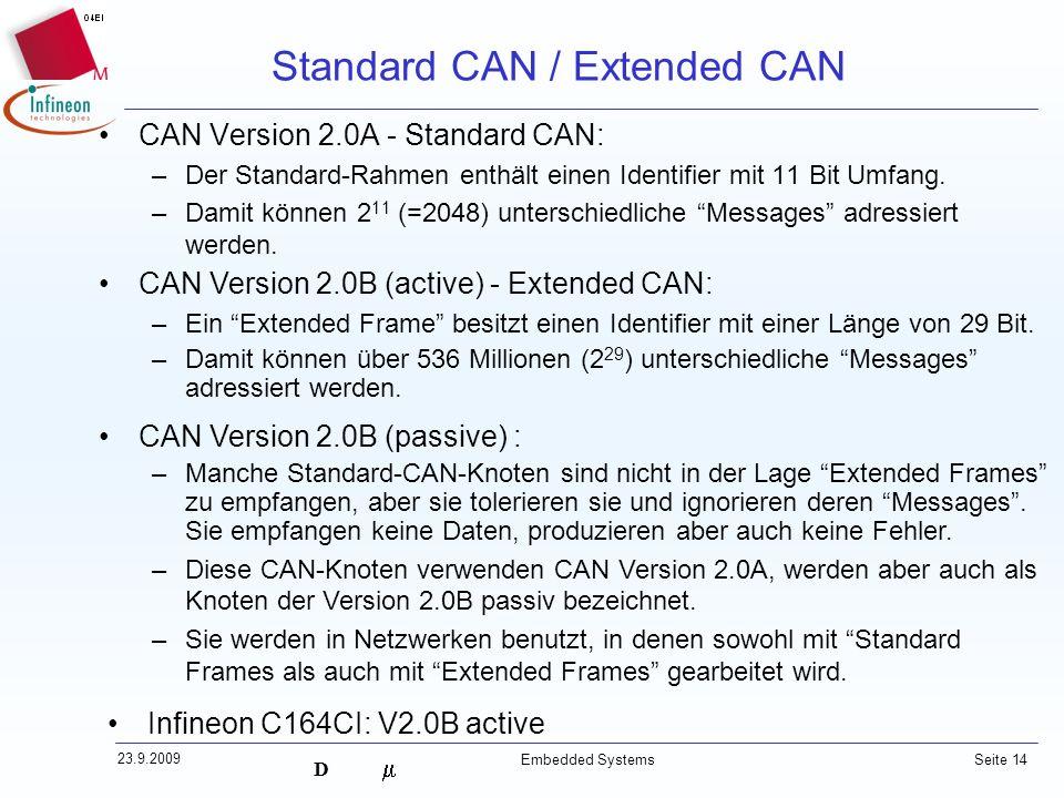 D 23.9.2009 Embedded Systems Seite 14 Standard CAN / Extended CAN CAN Version 2.0A - Standard CAN: –Der Standard-Rahmen enthält einen Identifier mit 1