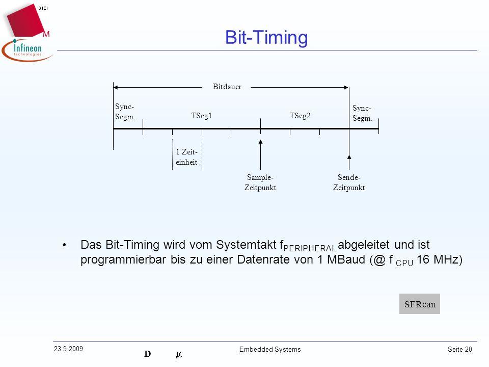 D 23.9.2009 Embedded Systems Seite 20 Bit-Timing TSeg1TSeg2 Sync- Segm. Sample- Zeitpunkt Sende- Zeitpunkt Bitdauer 1 Zeit- einheit Das Bit-Timing wir