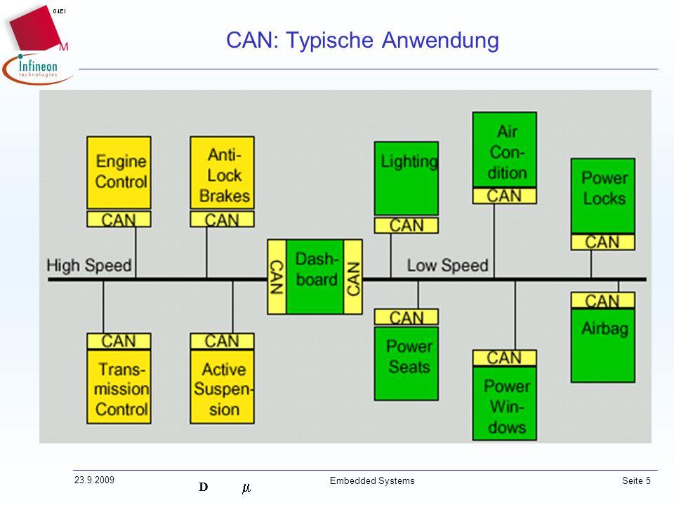D 23.9.2009 Embedded Systems Seite 5 CAN: Typische Anwendung