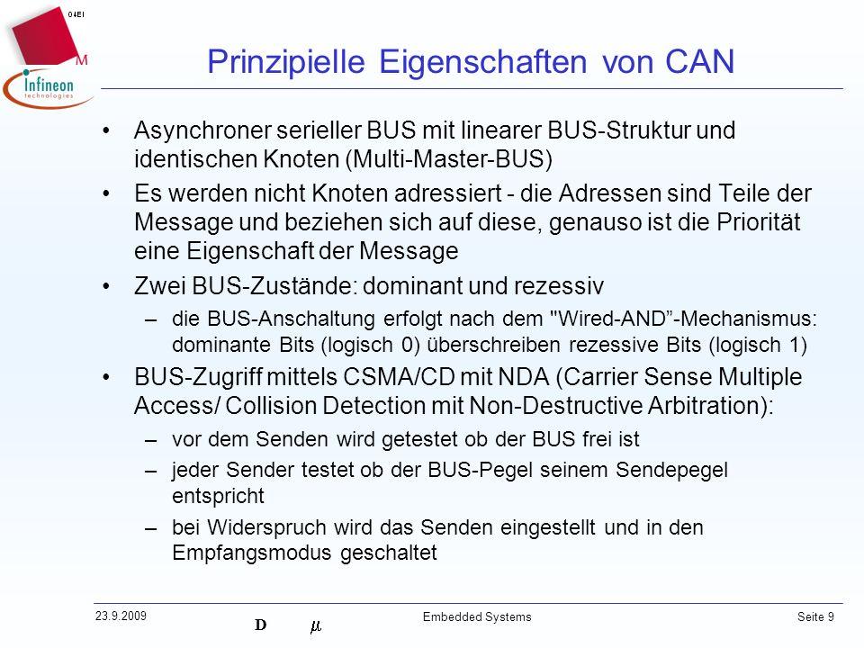 D 23.9.2009 Embedded Systems Seite 9 Asynchroner serieller BUS mit linearer BUS-Struktur und identischen Knoten (Multi-Master-BUS) Es werden nicht Kno