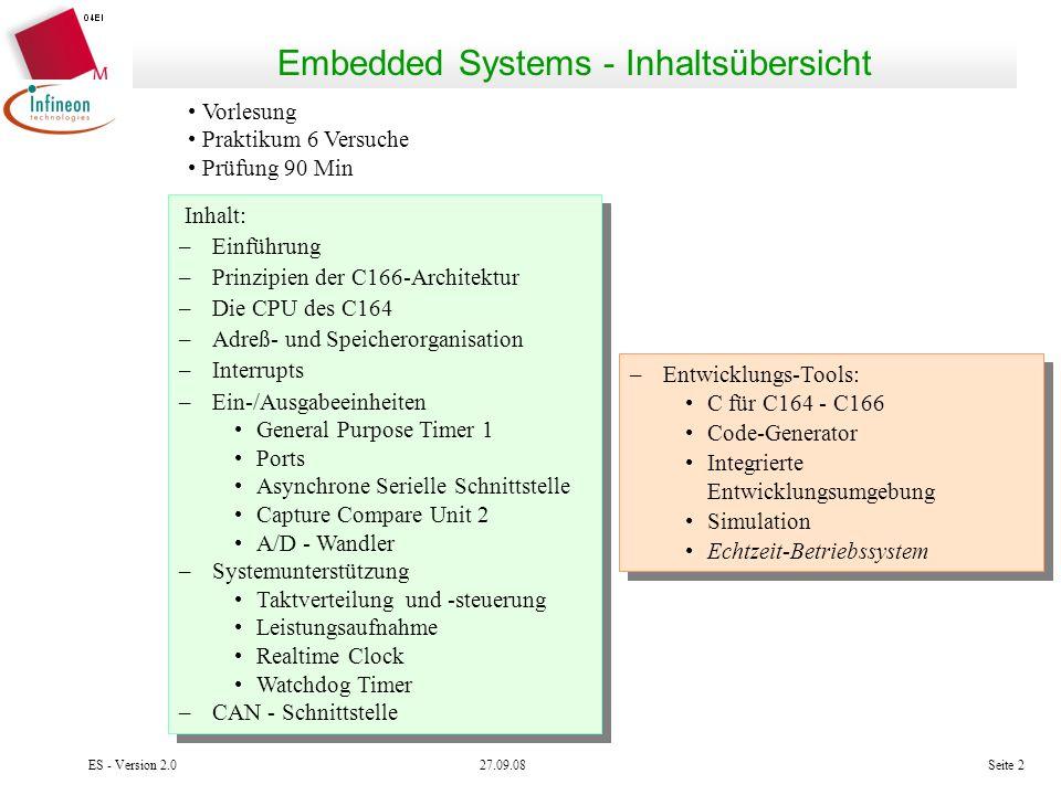 27.09.08ES - Version 2.0Seite 2 Embedded Systems - Inhaltsübersicht Vorlesung Praktikum 6 Versuche Prüfung 90 Min Inhalt: –Einführung –Prinzipien der