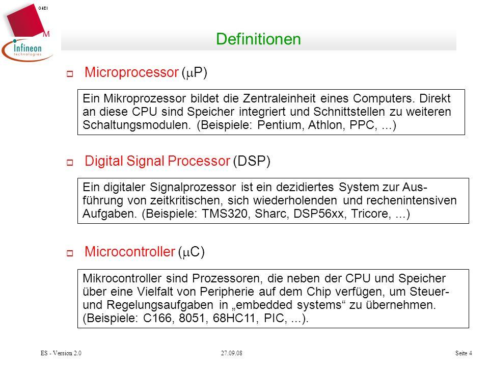 27.09.08ES - Version 2.0Seite 4 Definitionen Microprocessor ( P) Ein Mikroprozessor bildet die Zentraleinheit eines Computers. Direkt an diese CPU sin
