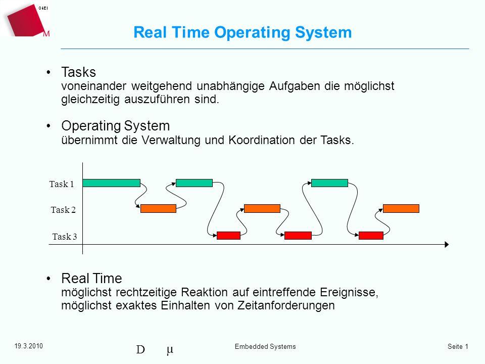 µ D 19.3.2010 Embedded Systems Seite 1 Real Time Operating System Tasks voneinander weitgehend unabhängige Aufgaben die möglichst gleichzeitig auszufü