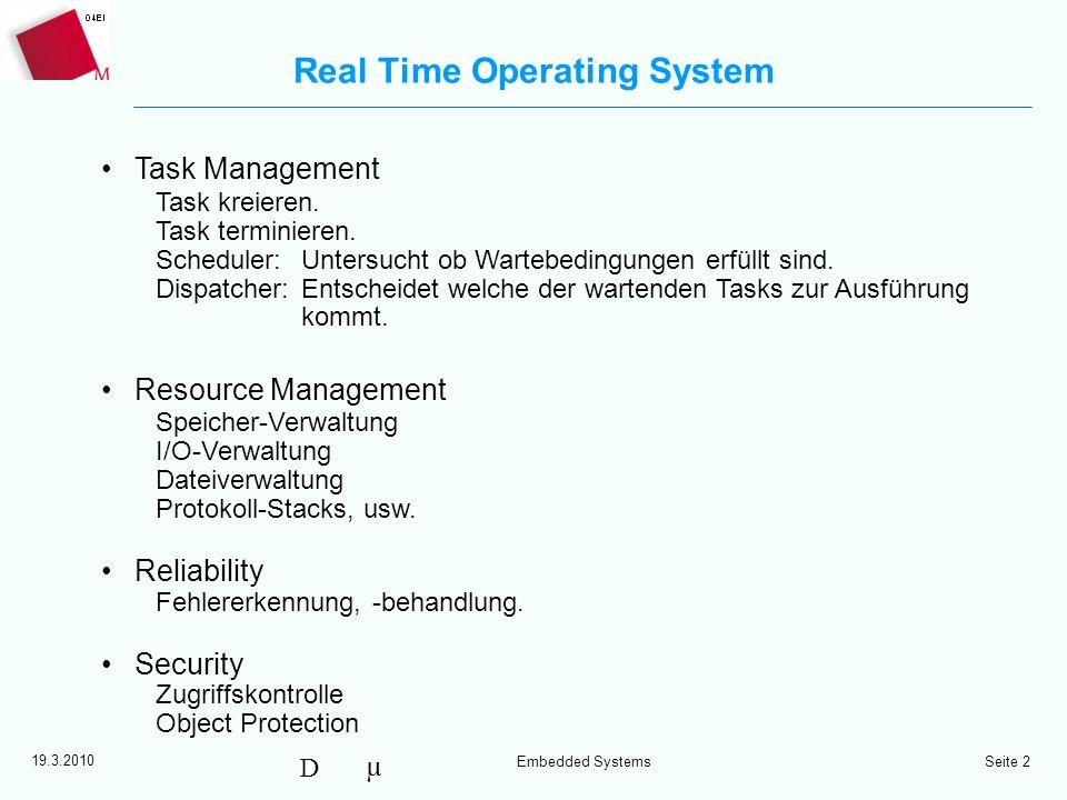 µ D 19.3.2010 Embedded Systems Seite 3 Task Konzept Task Funktionelle und strukturelle Einheit des Betriebssystems –Programm mit eigener abgeschlossener Umgebung.