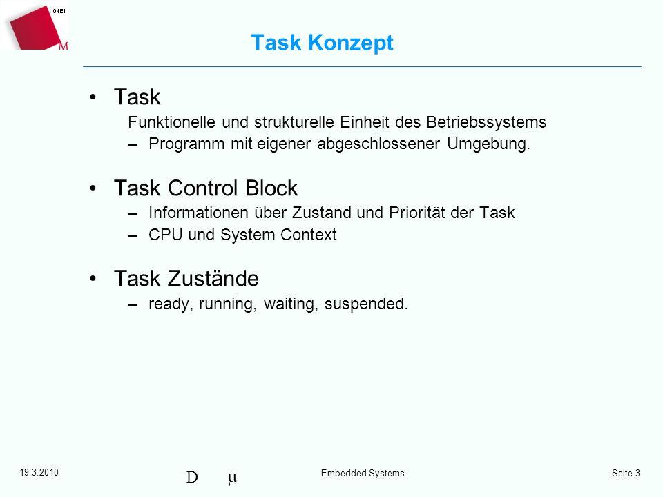 µ D 19.3.2010 Embedded Systems Seite 3 Task Konzept Task Funktionelle und strukturelle Einheit des Betriebssystems –Programm mit eigener abgeschlossen