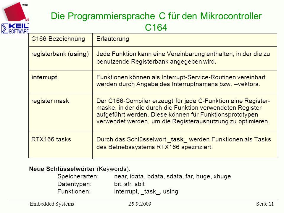 25.9.2009Embedded SystemsSeite 11 Die Programmiersprache C für den Mikrocontroller C164 C166-BezeichnungErläuterung registerbank (using) Jede Funktion