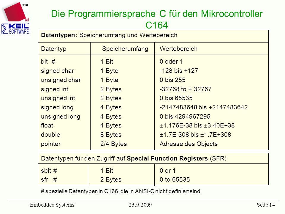 25.9.2009Embedded SystemsSeite 14 Datentypen: Speicherumfang und Wertebereich Datentyp SpeicherumfangWertebereich bit #1 Bit0 oder 1 signed char1 Byte