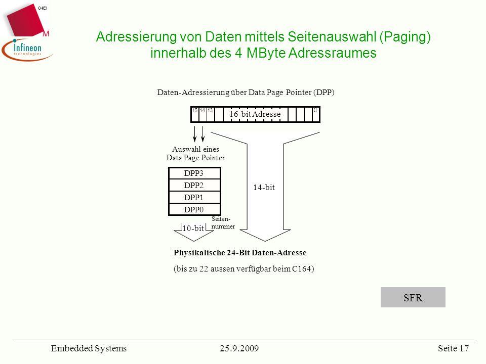 25.9.2009Embedded SystemsSeite 17 Adressierung von Daten mittels Seitenauswahl (Paging) innerhalb des 4 MByte Adressraumes Daten-Adressierung über Dat
