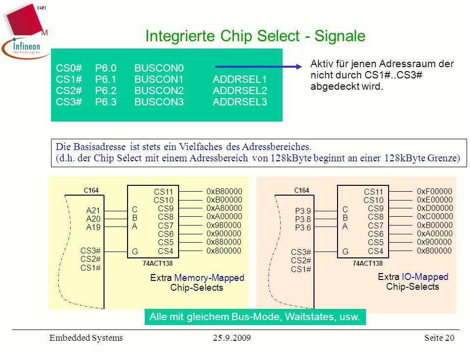 25.9.2009Embedded SystemsSeite 20 Integrierte Chip Select - Signale Die Basisadresse ist stets ein Vielfaches des Adressbereiches. (d.h. der Chip Sele