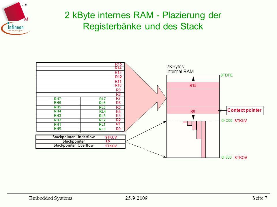 25.9.2009Embedded SystemsSeite 8 Gesamter Adressraum: –64 kByte nicht-segmentierter Adressraum –bis zu 4(16) MBytes segmentierter Adressraum: 64 kBbyte Code-Segmente und 16 kByte Daten-Pages –von Neumann-Architektur, die intern mit Mehrfach-BUS-Strukturen zur Vermeidung des BUS-Bottlenecks ausgestattet ist Interner Adressraum –2 KByte RAM –64 KBytes Flash/OTP ROM (C164CI-8FM) Flexible externe BUS-Konfigurationen –bis zu 22-Bit Adress-BUS / 8-Bit Daten-BUS (gemultiplexed) –bis zu 22-Bit Adress -BUS / 16- Bit Daten-BUS (gemultiplexed) –5 völlig unabhängige Konfigurations-Register –4 programmierbare Chip Selects und programierbare BUS- Kontrollsignale helfen externe Logik zu vermeiden.
