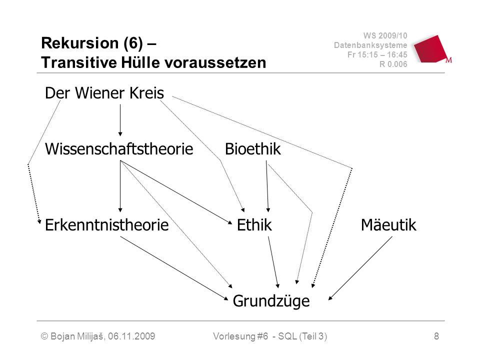 WS 2009/10 Datenbanksysteme Fr 15:15 – 16:45 R 0.006 © Bojan Milijaš, 06.11.2009Vorlesung #6 - SQL (Teil 3)8 Rekursion (6) – Transitive Hülle vorausse