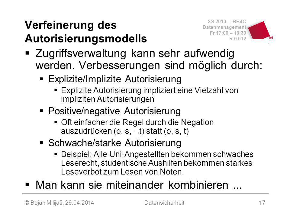 SS 2013 – IBB4C Datenmanagement Fr 17:00 – 18:30 R 0.012 © Bojan Milijaš, 29.04.2014Datensicherheit17 Verfeinerung des Autorisierungsmodells Zugriffsverwaltung kann sehr aufwendig werden.
