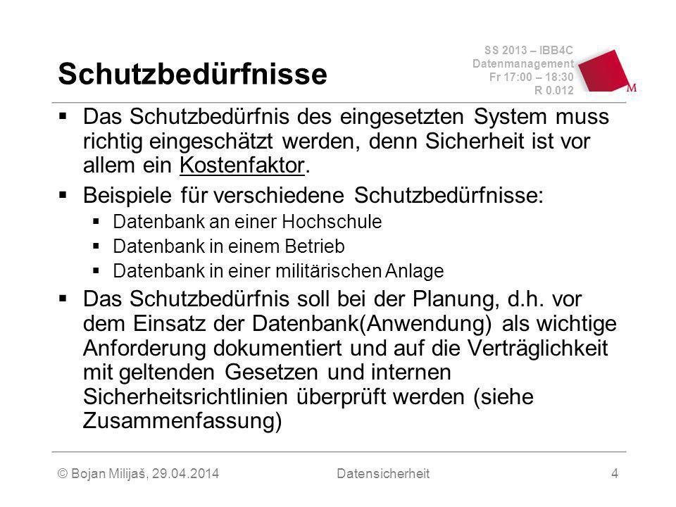 SS 2013 – IBB4C Datenmanagement Fr 17:00 – 18:30 R 0.012 © Bojan Milijaš, 29.04.2014Datensicherheit4 Schutzbedürfnisse Das Schutzbedürfnis des eingesetzten System muss richtig eingeschätzt werden, denn Sicherheit ist vor allem ein Kostenfaktor.