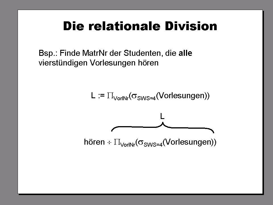 WS 2009/10 Datenbanksysteme Fr 15:15 – 16:45 R 0.006 © Bojan Milijaš, 16.10.2009Vorlesung #3 - Das relationale Modell (2)16