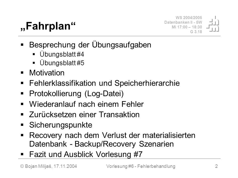 WS 2004/2005 Datenbanken II - 5W Mi 17:00 – 18:30 G 3.18 © Bojan Milijaš, 17.11.2004Vorlesung #6 - Fehlerbehandlung2 Fahrplan Besprechung der Übungsau