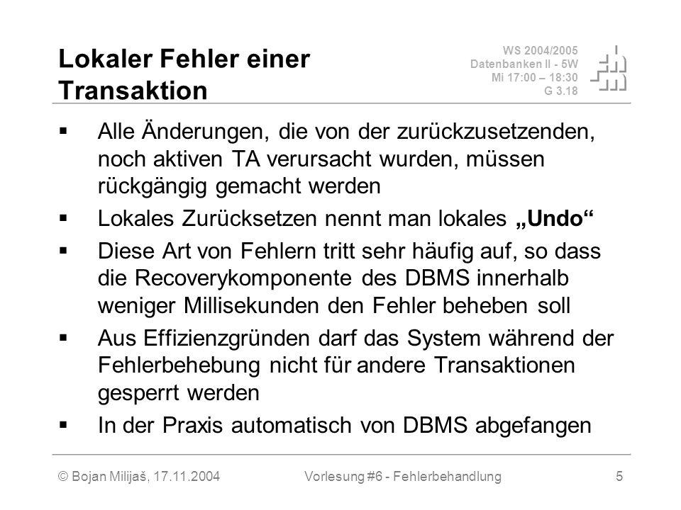 WS 2004/2005 Datenbanken II - 5W Mi 17:00 – 18:30 G 3.18 © Bojan Milijaš, 17.11.2004Vorlesung #6 - Fehlerbehandlung5 Lokaler Fehler einer Transaktion