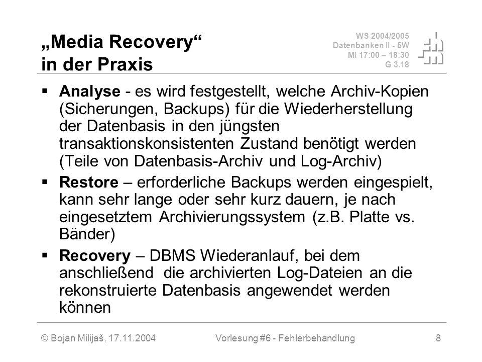 WS 2004/2005 Datenbanken II - 5W Mi 17:00 – 18:30 G 3.18 © Bojan Milijaš, 17.11.2004Vorlesung #6 - Fehlerbehandlung8 Media Recovery in der Praxis Anal