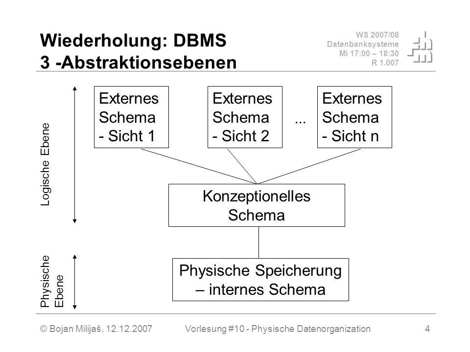 WS 2007/08 Datenbanksysteme Mi 17:00 – 18:30 R 1.007 © Bojan Milijaš, 12.12.2007Vorlesung #10 - Physische Datenorganization5 3 Abstraktionsebenen Ebene 1 (externe): Sichten – Datenbank VIEWs Ebene 2 (konzeptionelle) : Relationen– Datenbank Tabellen mit ihren logischen Attributen Ebene 3 (interne): Datenstrukturen bzw.