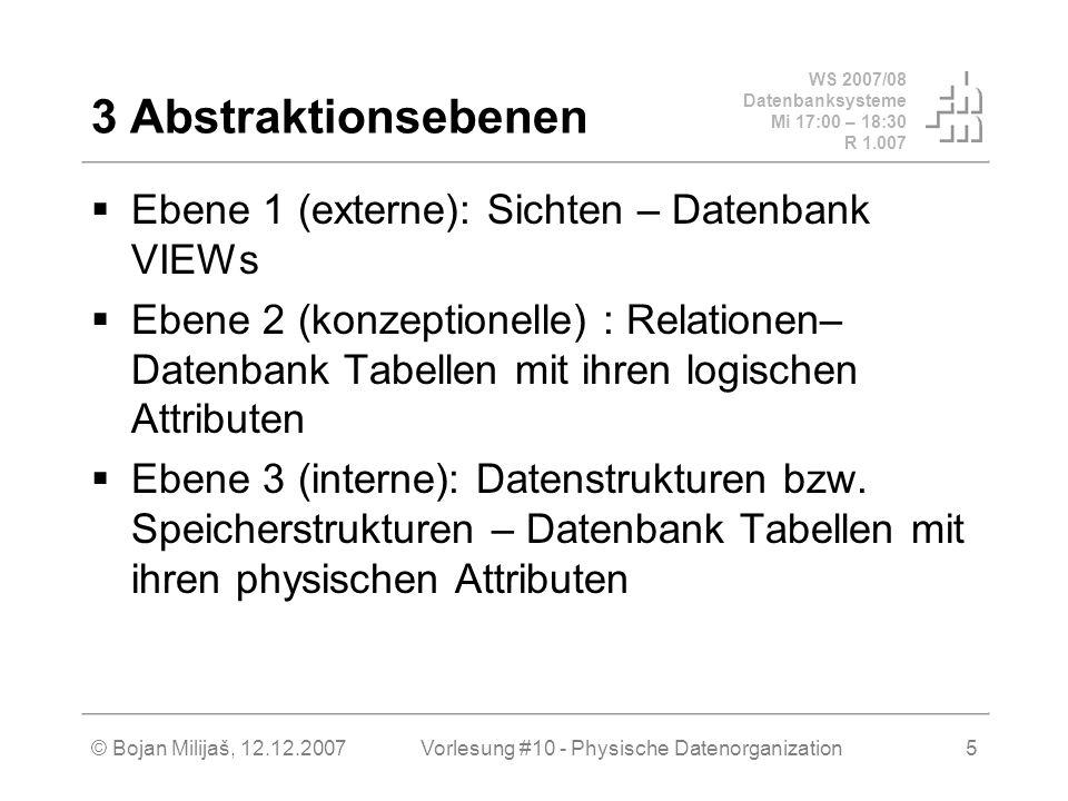 WS 2007/08 Datenbanksysteme Mi 17:00 – 18:30 R 1.007 © Bojan Milijaš, 12.12.2007Vorlesung #10 - Physische Datenorganization16 Physische Dateiorganisation in ORACLE (2 von ca.