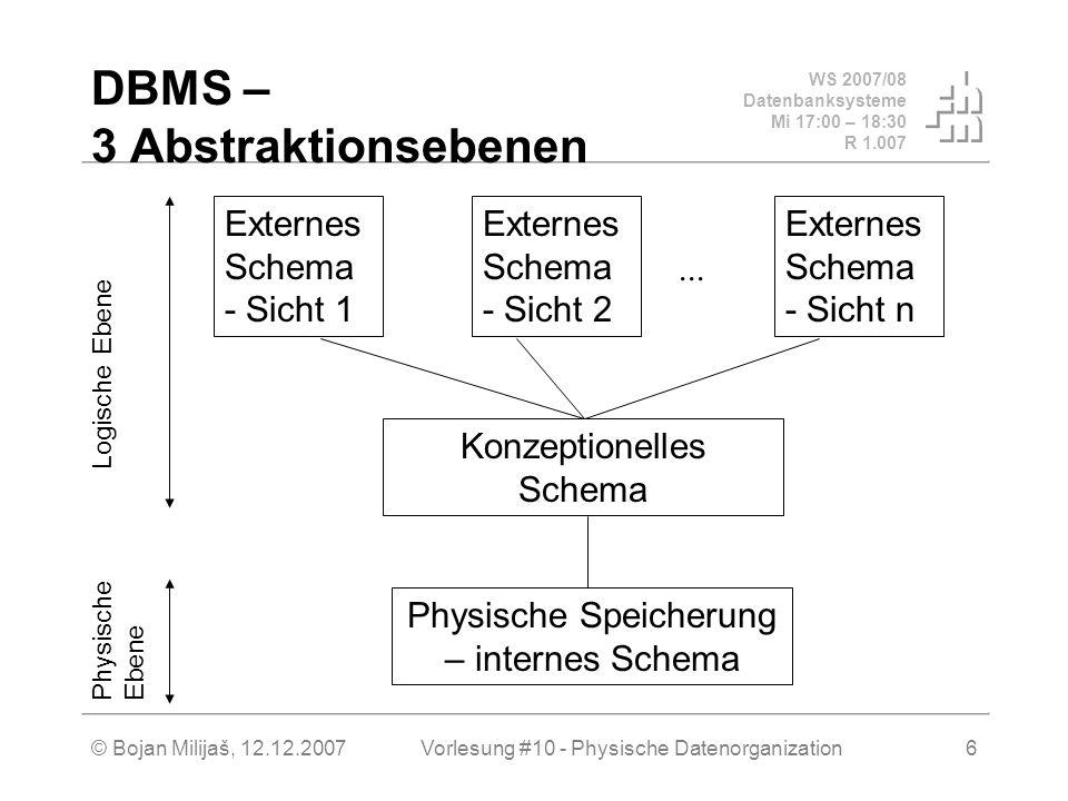 WS 2007/08 Datenbanksysteme Mi 17:00 – 18:30 R 1.007 © Bojan Milijaš, 12.12.2007Vorlesung #10 - Physische Datenorganization6 DBMS – 3 Abstraktionsebenen...