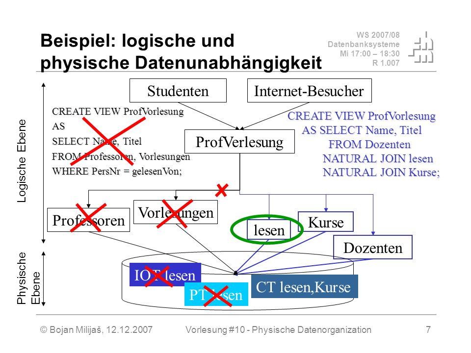 WS 2007/08 Datenbanksysteme Mi 17:00 – 18:30 R 1.007 © Bojan Milijaš, 12.12.2007Vorlesung #10 - Physische Datenorganization8 Erläuterung zum Beispiel Man hat mehrere Möglichkeiten, eine Relation (logische Tabelle mit ihren Attributen) als eine physische oder DBMS- Tabelle zu implementieren.