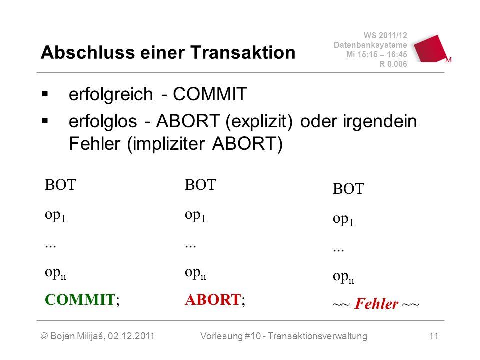 WS 2011/12 Datenbanksysteme Mi 15:15 – 16:45 R 0.006 © Bojan Milijaš, 02.12.2011Vorlesung #10 - Transaktionsverwaltung11 Abschluss einer Transaktion e