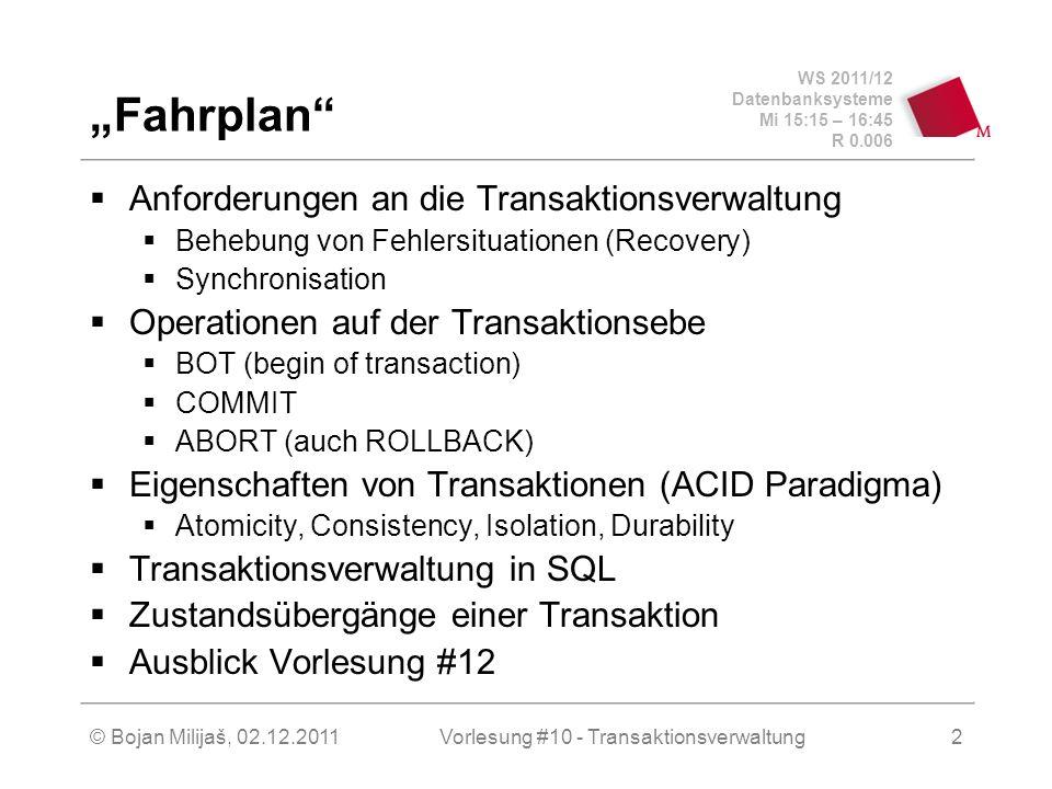 WS 2011/12 Datenbanksysteme Mi 15:15 – 16:45 R 0.006 © Bojan Milijaš, 02.12.2011Vorlesung #10 - Transaktionsverwaltung2 Fahrplan Anforderungen an die