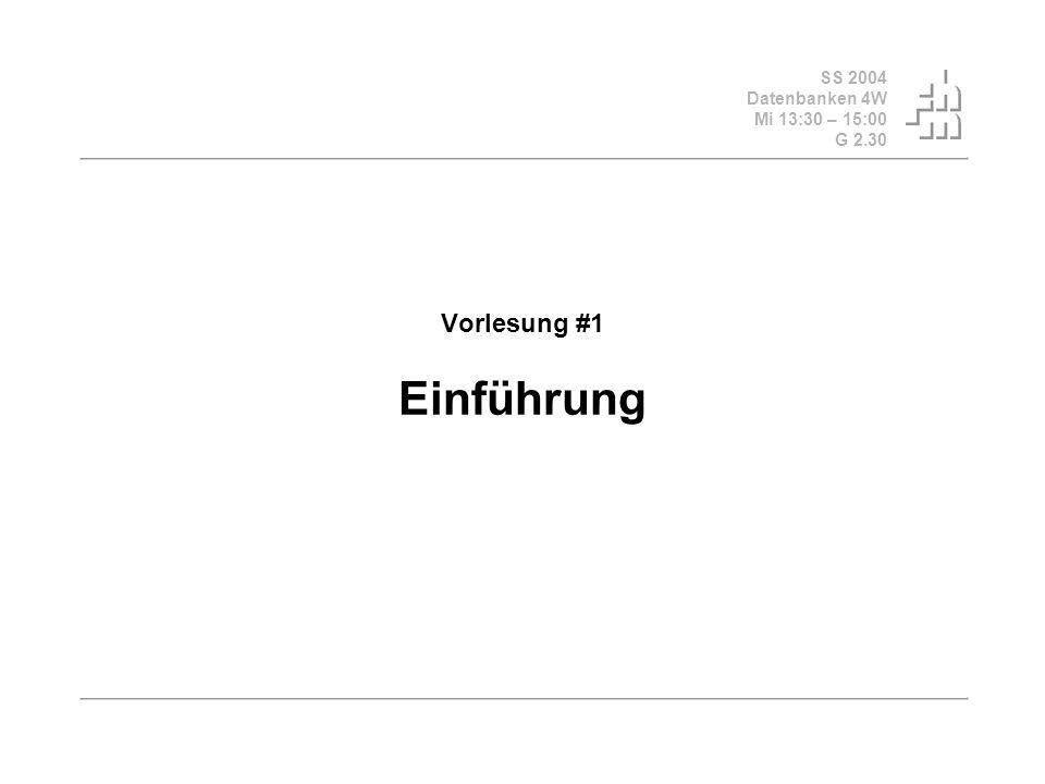 SS 2004 Datenbanken 4W Mi 13:30 – 15:00 G 2.30 © Bojan Milijaš, 17.03.2004Vorlesung #1 - Einführung12 Motivation und Einführung (2) Datenverarbeitung mit Datenbanken adäquaten Zugriff Mehrbenutzer- Synchronisation Sicherheit Recovery Datenbank sorgt (automatisch) für: Daten-Konsistenz Integrität der Daten